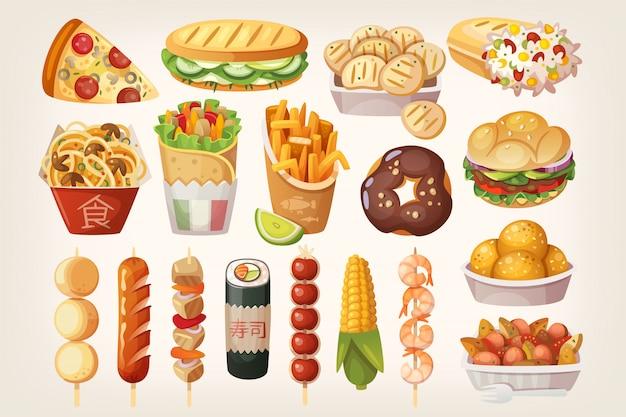 Icone di cibo di strada