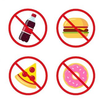Icone di cibo spazzatura