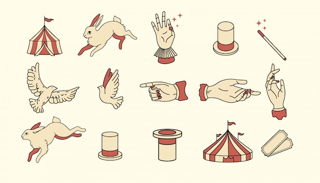 Icone di circo vintage design piatto elementi illustrazione per la progettazione grafica. attività logo. performer di magia, illusionista, mago, artista, marchio dello showman. tirando fuori una lepre da un cappello magico, colombe, uccello
