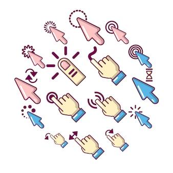 Icone di clic della mano messe, stile del fumetto