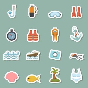 Icone di colore attrezzature estate