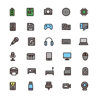 Icone di colore del computer