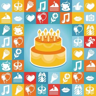 Icone di compleanno e di partito di vettore - raccolta in stile piatto retrò
