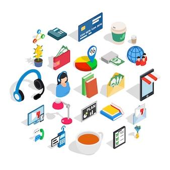 Icone di comunicazione commerciale messe, stile isometrico