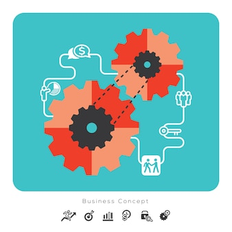 Icone di concetto di affari con l'illustrazione dell'ingranaggio