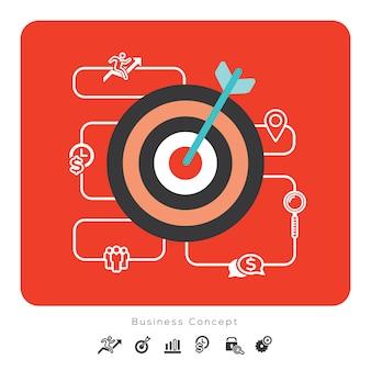 Icone di concetto di affari di successo con l'illustrazione dell'obiettivo
