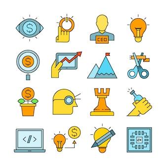 Icone di concetto di avvio di affari