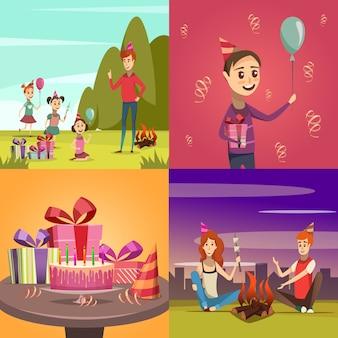 Icone di concetto di compleanno dei bambini impostate