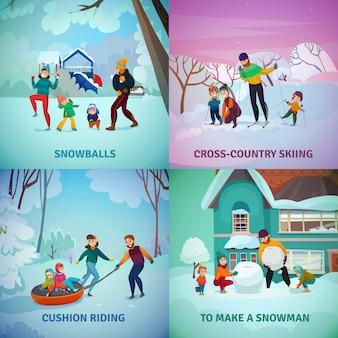 Icone di concetto di ricreazione di inverno messe