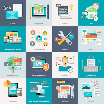 Icone di concetto di sviluppo del sito web