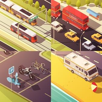 Icone di concetto di trasporto con auto e furgoni
