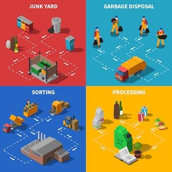 Icone di concetto isometrico di riciclaggio di immondizia messe