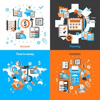 Icone di contabilità impostate piatte