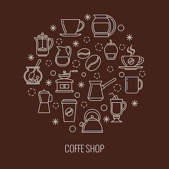 Icone di contorno del caffè nella progettazione del cerchio