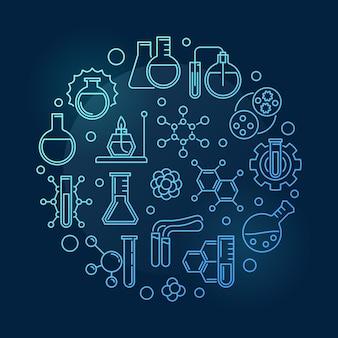 Icone di contorno di educazione chimica