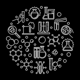 Icone di contorno di esperimenti di laboratorio