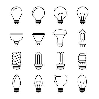 Icone di contorno di lampadina