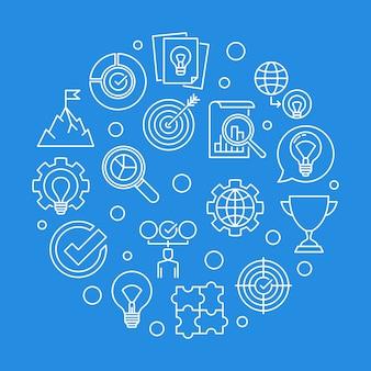 Icone di contorno rotondo valori aziendali