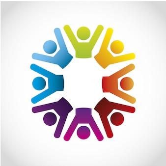 Icone di cooperazione su sfondo grigio illustrazione vettoriale