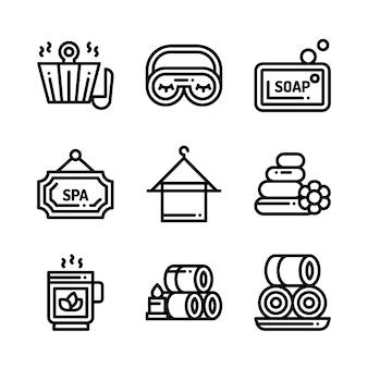 Icone di cosmetici terapia di massaggio spa. illustrazione.