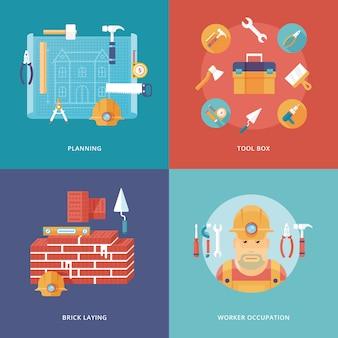 Icone di costruzione e costruzione impostate per applicazioni web e mobili. illustrazione per pianificazione e progetto, attrezzatura per cassetta degli attrezzi, lavoro di posa di mattoni, occupazione dei lavoratori.