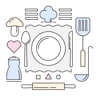 Icone di cucina lineare