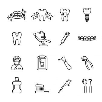 Icone di cura dentale.