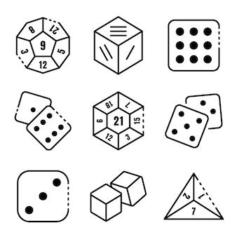 Icone di dadi impostate, struttura di stile