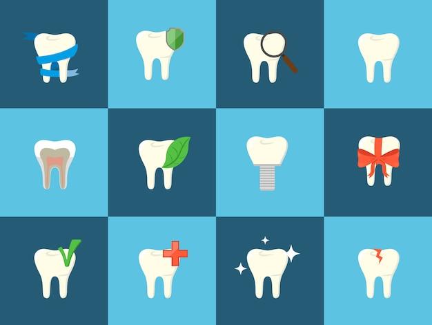 Icone di denti con vari elementi.