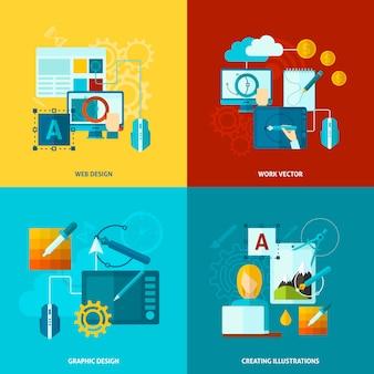 Icone di design grafico piatte