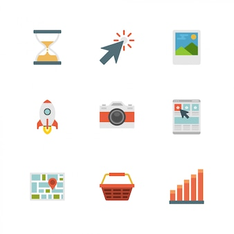 Icone di design piatto: fotocamera, razzo, cursore, timer della sabbia, mappa