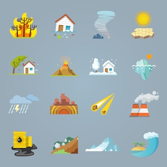 Icone di disastro naturale piatte