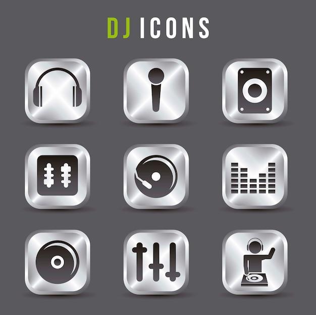 Icone di dj sopra illustrazione vettoriale sfondo grigio