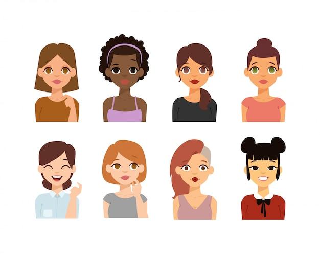 Icone di donna emoji faccia.