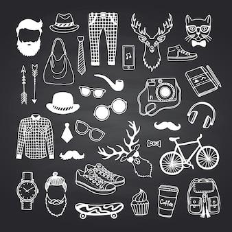 Icone di doodle dei pantaloni a vita bassa sulla lavagna nera