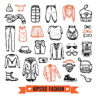 Icone di doodle di moda vestiti hipster