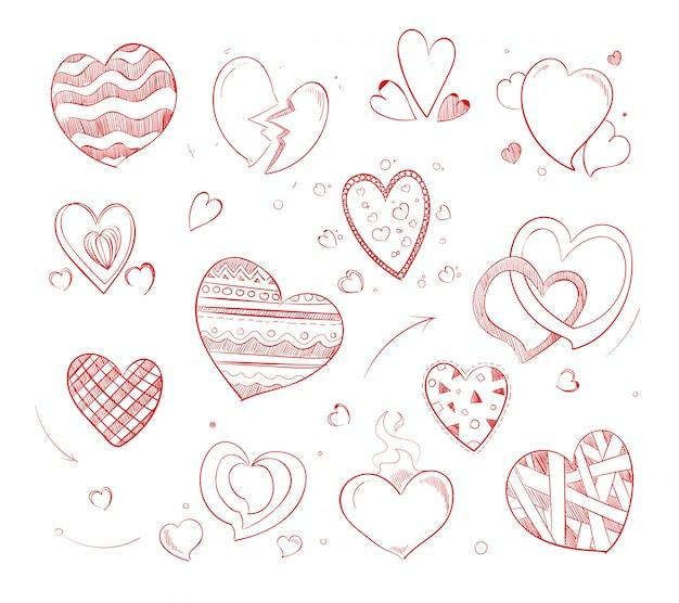 Icone di doodle di vettore disegnato a mano cuori rossi