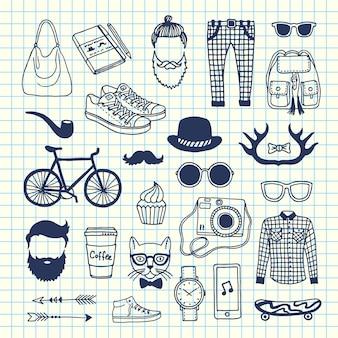 Icone di doodle hipster sul foglio di cellule
