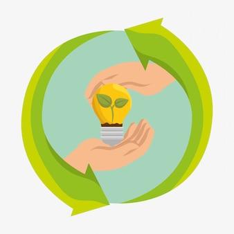 Icone di ecologia di energia della lampadina