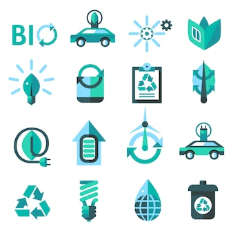 Icone di ecologia e riciclaggio