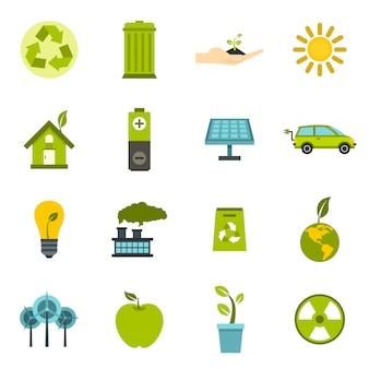 Icone di ecologia impostate in stile piano.