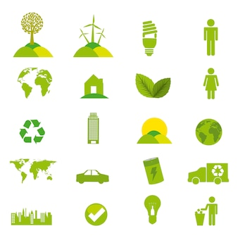 Icone di ecologia verde sopra illustrazione vettoriale sfondo bianco