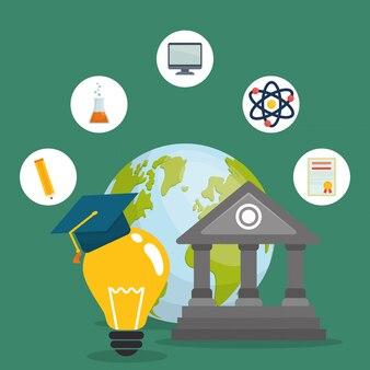 Icone di educazione ed elearning