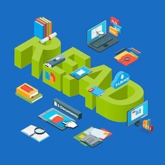 Icone di educazione online isometrica