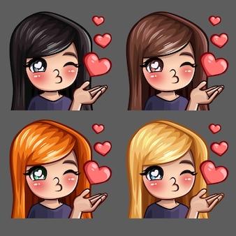 Icone di emozione baci femminili felici con i capelli lunghi per i social network e adesivi