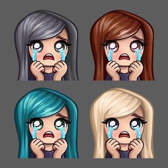 Icone di emozione pianto femminile con i capelli lunghi per social network e adesivi