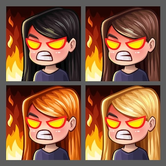 Icone di emozione rabbia femminile con i capelli lunghi per social network e adesivi