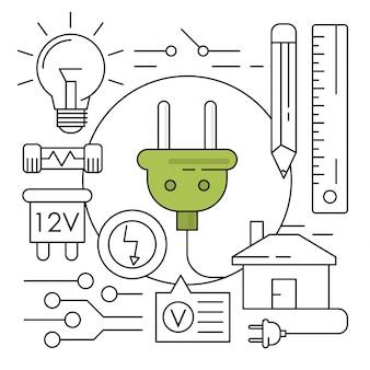 Icone di energia lineare elementi ambientali minimi