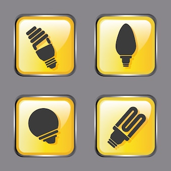 Icone di energia sopra grigio