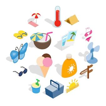 Icone di estate messe, stile isometrico 3d